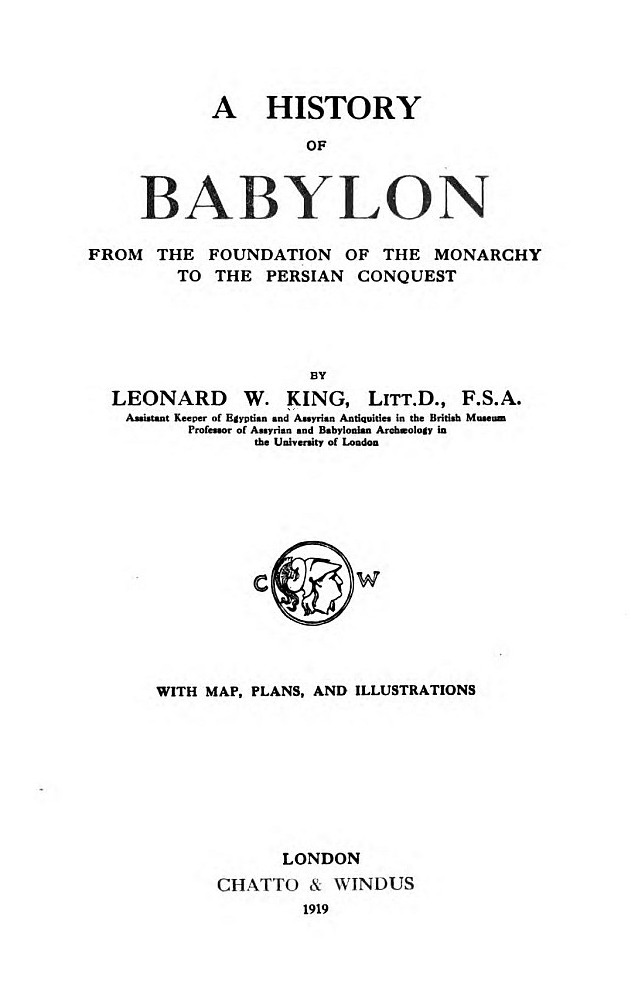 The Project Gutenberg eBook of A History of Babylonia, by