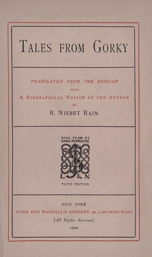 The Project Gutenberg Ebook Of Tales From Gorky By R Nisbet Bain