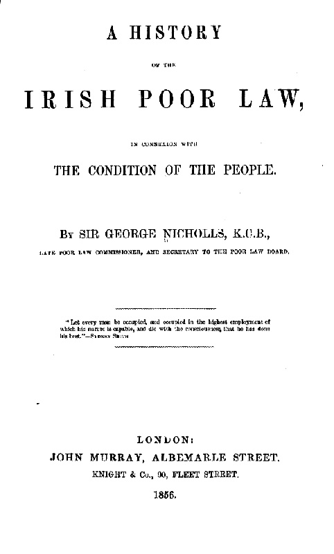 A History Of The Irish Poor Law By George Nichols