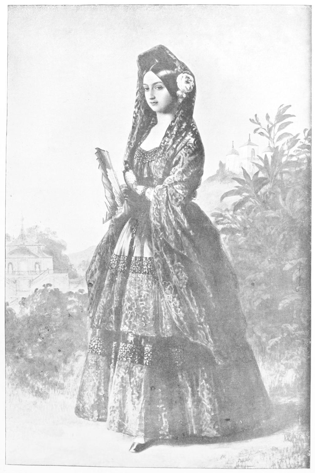 bd0b3c4594 Woman in full length dress with veil