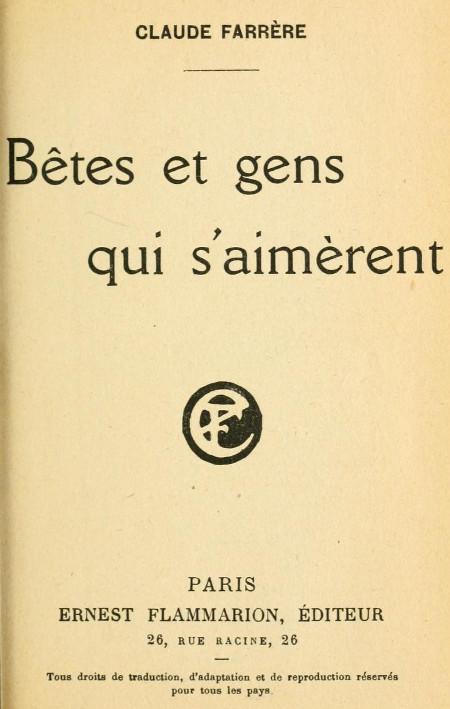 The Project Gutenberg Ebook Of Bêtes Et Gens Qui Saimèrent
