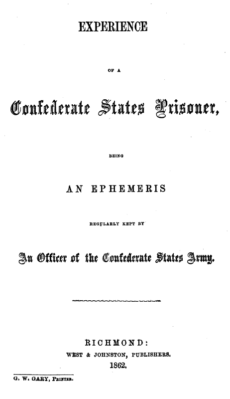 The Project Gutenberg eBook of Experience of a Confederate