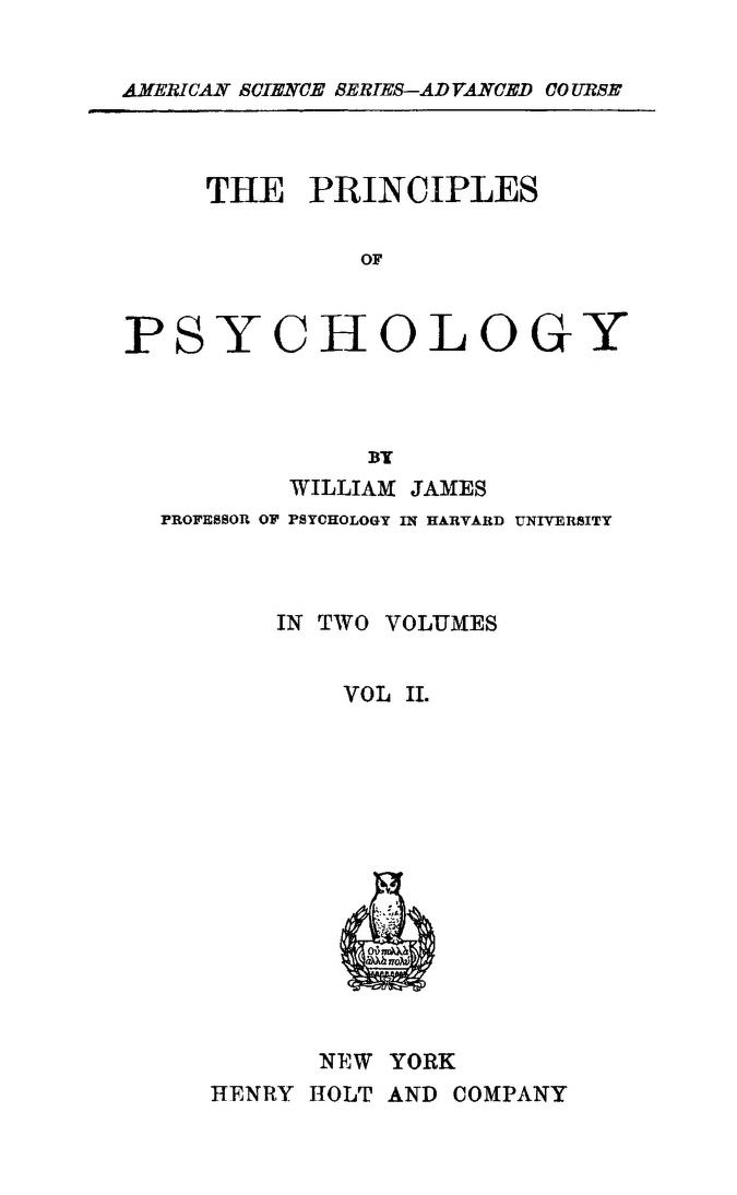 The Project Gutenberg EBook Of The Principles Psychology