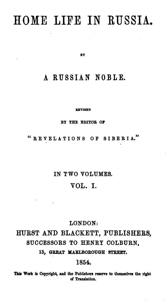 The Project Gutenberg Ebook Of Home Life In Russia By Nikolai Gogol