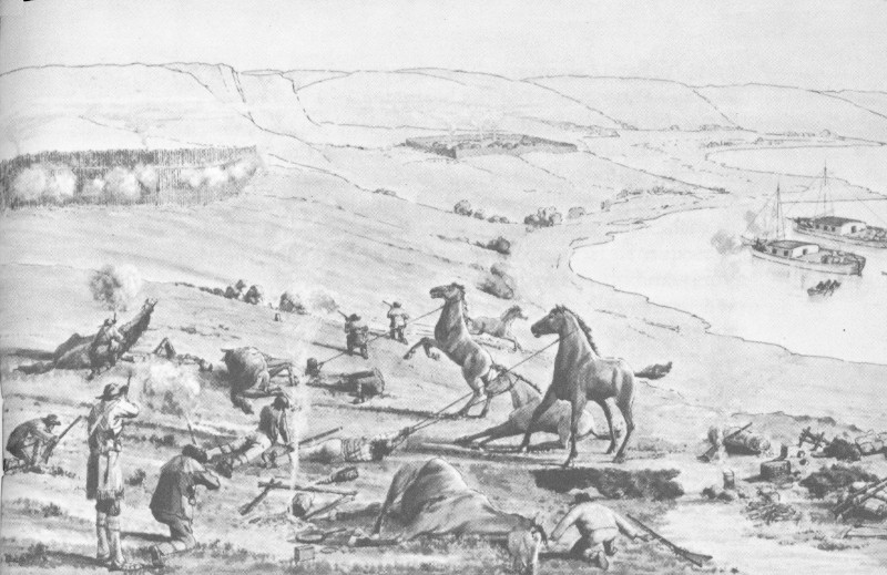 Ree Indian attack on General Ashley s trappers. Original sketch in Oregon  Trail Museum. f55fa2c028d2