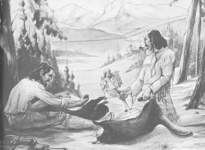 Trappers skinning beaver. Original sketch in Oregon Trail Museum. 6a63eeb45d7d
