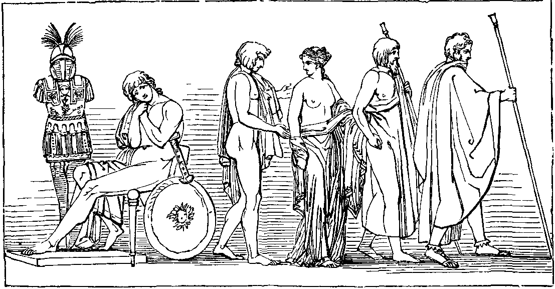 Illustration: THE DEPARTURE OF BRISEIS FROM THE TENT OF ACHILLES.