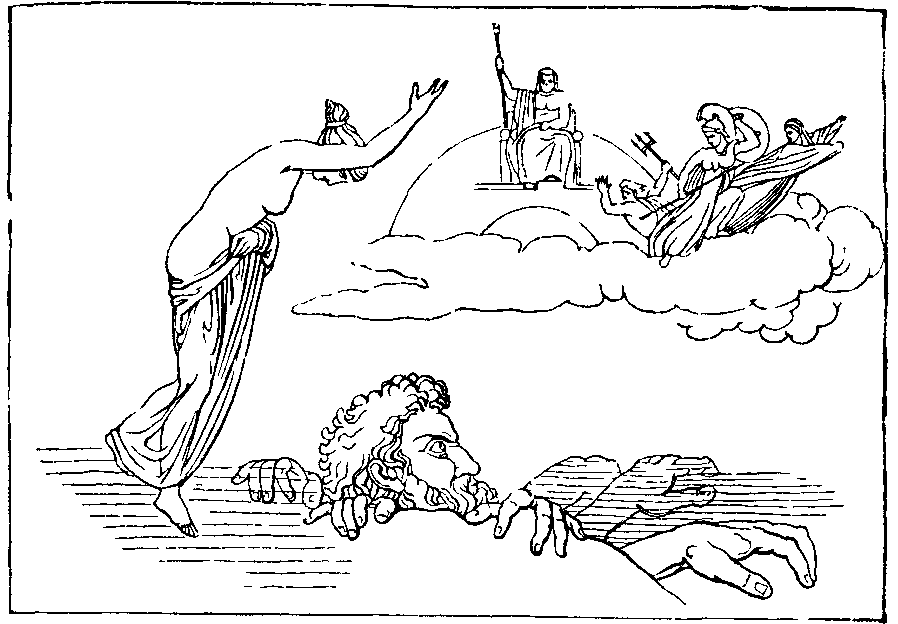 Illustration: THETIS CALLING BRIAREUS TO THE ASSISTANCE OF JUPITER.