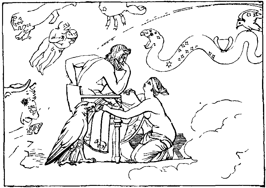 Illustration: THETIS ENTREATING JUPITER TO HONOUR ACHILLES.
