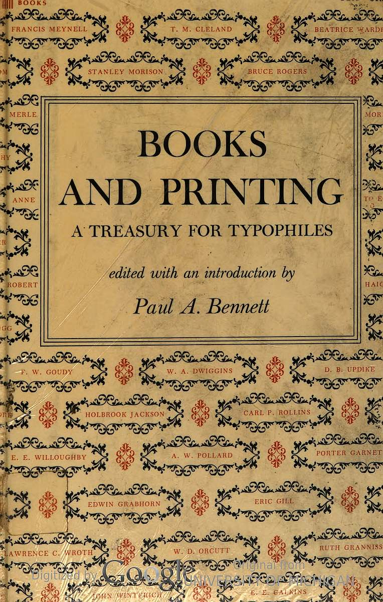 Books And Printing By Paul A Bennett Editor A Project Gutenberg Ebook
