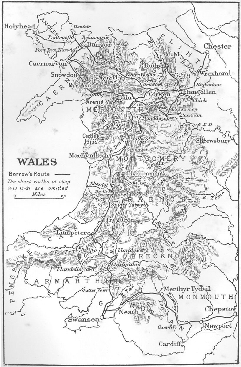 Wild wales by george borrow map of wales showing borrows route buycottarizona Image collections